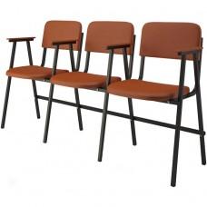 Крісло для актового залу 3-місне з підлокітниками, тканина Алісія Тріо, 715.00 грн