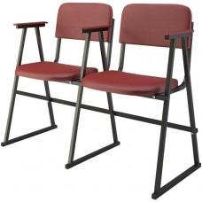 Крісло для актового залу 2-місне з підлокітниками на лижах, тканина Алісія Дует, 791.00 грн