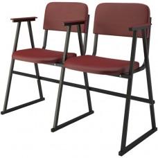 Крісло для актового залу 2-місне з підлокітником на лижах, шкірзамінник Алісія Дует, 852.00 грн