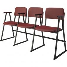 Крісло для актового залу 3-місне з підлокітником на лижах, шкірзамінник Алісія Тріо, 820.00 грн