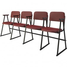 Крісло для актового залу 4-місне з підлокітником на лижах, шкірзамінник Алісія Квартет, 804.00 грн