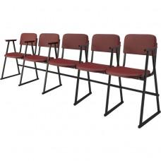 Крісло для актового залу 5-місне з підлокітником на лижах, шкірзамінник Алісія Квінтет, 795.00 грн